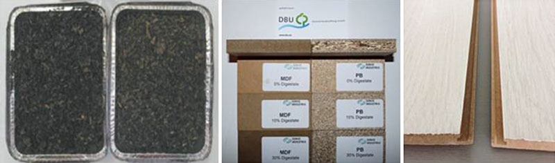 Erfolgreicher Test der gereinigten Biogasfasern 2012/13 (DBU-gefördertes Vorprojekt): Bis 30 % Biogasfasern in Spanplatten, MDF und HDF-Platten sind grundsätzlich möglich bei normgerechten Kenn- und Emissionswerten