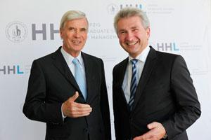 Auf dem 2. HHL International Investors Day: Dr. Michael Otto (Aufsichtsratsvorsitzender der Otto Group) mit Prof. Dr. Andreas Pinkwart (Rektor der HHL). Foto: HHL/Alina Simmelbauer